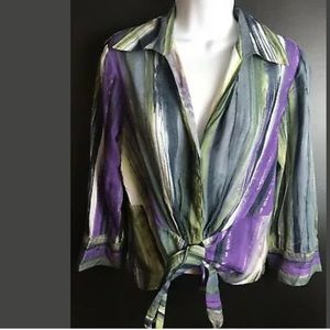 LAFAYETTE 148 NY Tie Front Blouse Top Shirt Silk